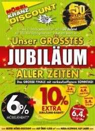 Möbel Kranz Discount in Uelzen direkt an der B4 • Unser größtes Jubiläum aller Zeiten