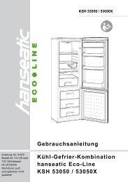 Kühl-Gefrier-Kombination hanseatic Eco-Line KSH 53050 / 53050X ...