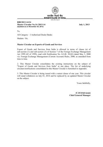 Master Circular on Exports of Goods and Services - RBI Website