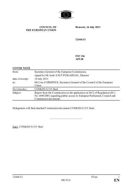 12444/13 JT/mi 1 DG F2A COUNCIL OF THE EUROPEAN ... - Europa