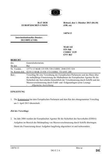 14076/13 bhw/ar 1 DG E 2 A RAT DER EUROPÄISCHEN UNION ...