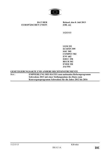 Schwedens - Öffentliches Register der Ratsdokumente - Europa