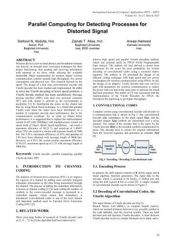 Parallel Computing for Detecting Processes for Distorted Signal