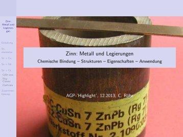 Metall und Legierungen - Anorganische Chemie, AK Röhr, Freiburg