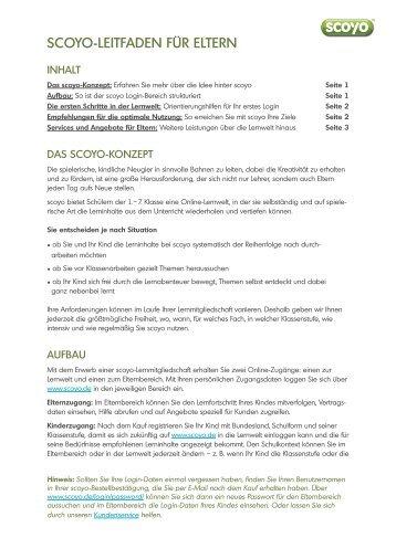 scoyo-Leitfaden für Eltern - Amazon S3