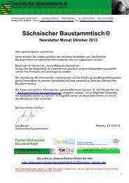 Newsletter Sächsischer Baustammtisch Oktober 2013