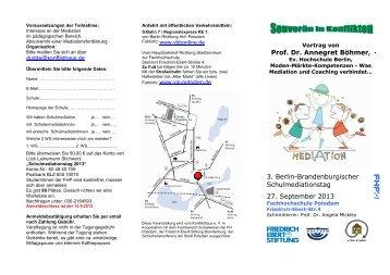 Flyer 3. Schulmediationstag - Fachbereich Sozialwesen