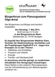 Bürgerforum zum Planungsstand Olga-Areal