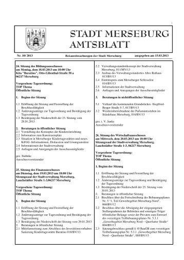 Amtsblatt der Stadt Merseburg Nr. 10/2013