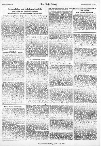 Fremdarbeiter und Arbeitsmarktpolitik - Neue Zürcher Zeitung