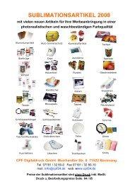 SUBLIMATIONSARTIKEL 2008 - cpf Digitaldruck
