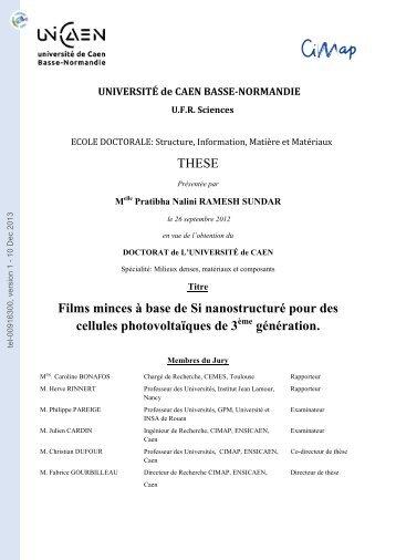Films minces à base de Si nanostructuré pour des cellules ...