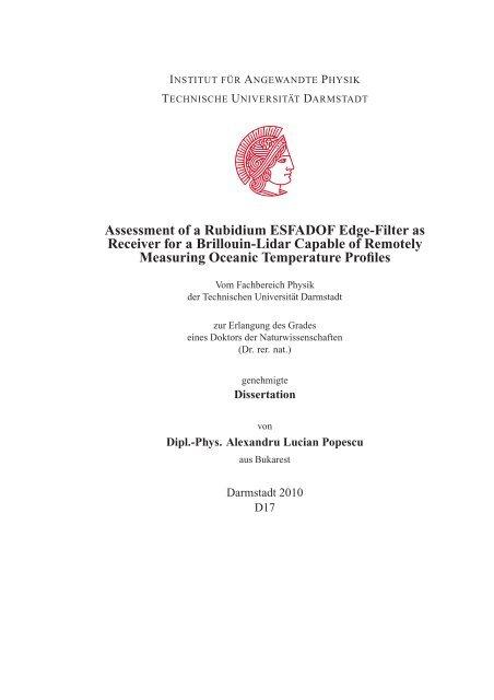 Assessment of a Rubidium ESFADOF Edge-Filter as ... - tuprints