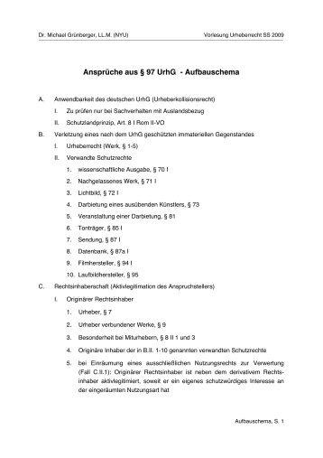 Ansprüche aus § 97 UrhG - Aufbauschema