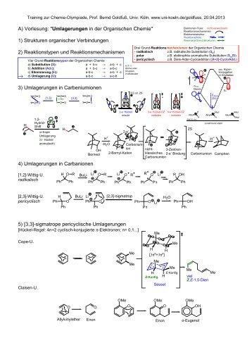 """A) Vorlesung: """"Umlagerungen in der Organischen Chemie"""" 1 ..."""