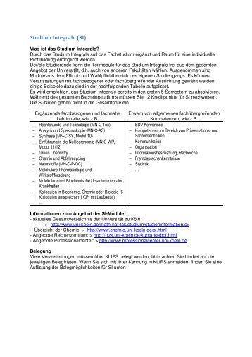 Studium Integrale (SI) - Universität zu Köln