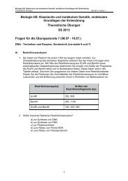 Biologie I/B: Klassische und molekulare Genetik, molekulare ...