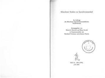 Münchener Studien zur Sprachwissenschaft