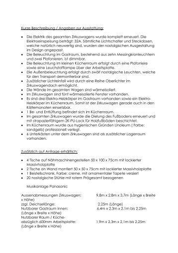 Kurze Beschreibung / Angaben zur Ausstattung: • Die ... - PicR.de