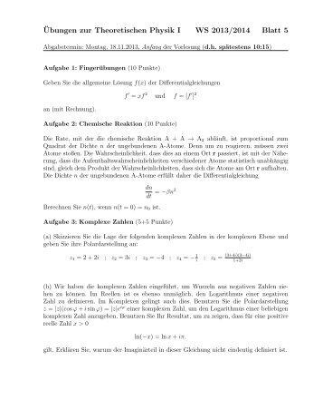 ¨Ubungen zur Theoretischen Physik I WS 2013/2014 Blatt 5