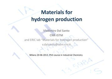 Materials for hydrogen production