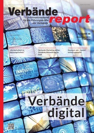 Verbändereport 08|2013 - Inhaltsverzeichnis - Deutsches Verbände ...