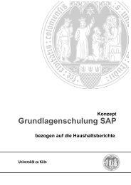 SAP-Schulungsunterlagen - Verwaltung - Universität zu Köln