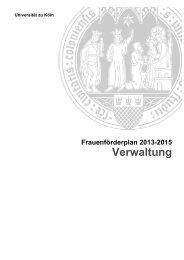 Frauenförderplan Universität zu Köln 2013 - 2015 - Verwaltung