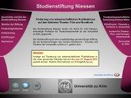 Studienstiftung Niessen - Verwaltung - Universität zu Köln