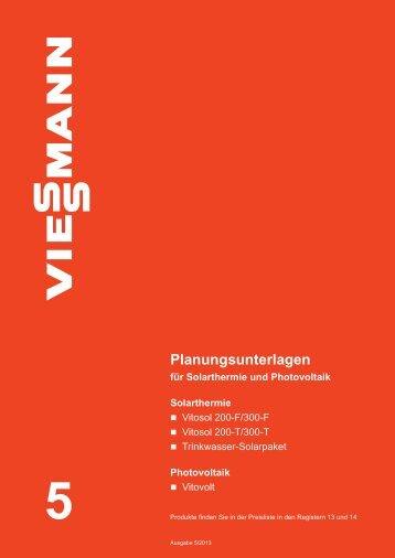 """Planungsunterlagen für Solarthermie und Photovoltaik - """"Viessmann ..."""
