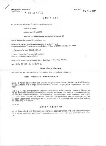 Beschluss Durchsuchung Beschlagnahme - Wemepes.ch