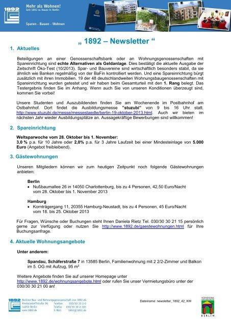 Newsletter Berliner Bau Und Wohnungsgenossenschaft Von