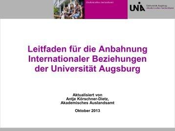 Anbahnung Internationaler Beziehungen an der Universität Augsburg