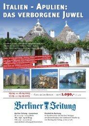 italien - apulien: das verborgene juwel - Berliner Zeitung Leserreisen