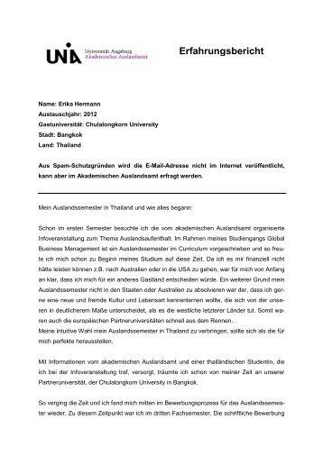 Erfahrungsbericht - AAA - Universität Augsburg