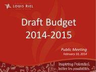 Budget presentation 2014 - 2015  Feb 10 2014