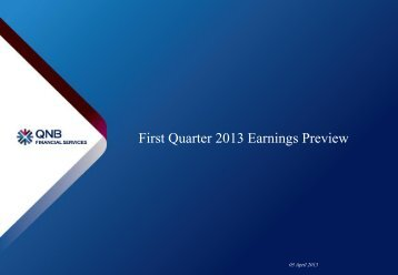 First Quarter 2013 Earnings Preview