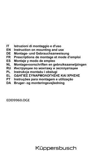 IT Istruzioni di montaggio e d'uso EN Instruction on mounting and ...