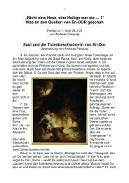 Predigt 4.8.2013 Hexe von En Dor