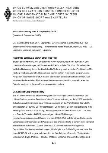 Bericht Vorstandsitzung vom 4.9.2013 - USKA
