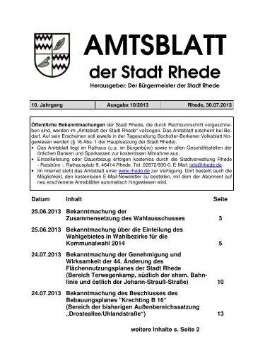 Amtsblatt Ausgabe 10-2013 - Stadt Rhede