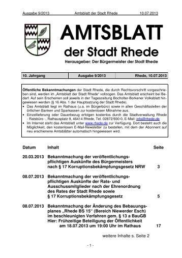 Amtsblatt Ausgabe 09-2013 - Stadt Rhede