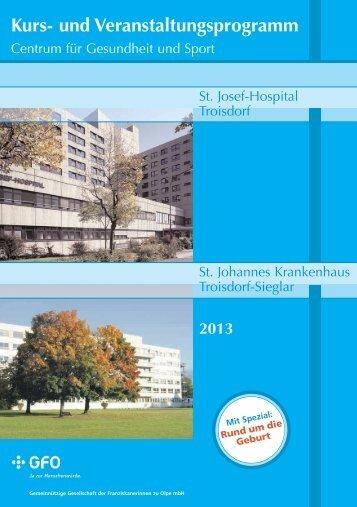 und Veranstalungsprogramm 2013 für Gesundheits - Stadt Troisdorf