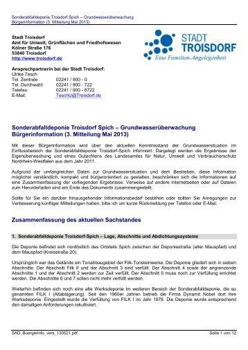3. Bürgerinformation zur Sonderabfalldeponie Mai ... - Stadt Troisdorf