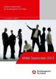 ANBA September 2013 - Statistik der Bundesagentur für Arbeit