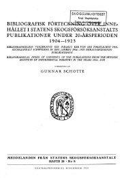 bibliografisk förtec ne:= hållet i statens skogsförsöksanstalts ...