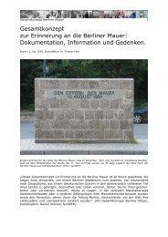 Gesamtkonzept zur Erinnerung an die Berliner Mauer
