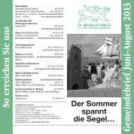 Gemeindebrief Juni 2013 - ST.MARKUS HOHELUFT