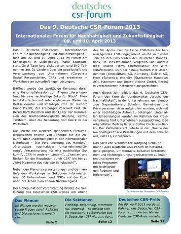 Das 9. Deutsche CSR-Forum 2013 - Deutsches CSR-Forum