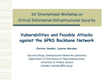 Vulnerabilities and Possible Attacks against the GPRS Backbone Network
